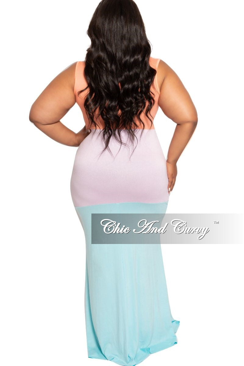 Final Sale Plus Size Sleeveless Maxi Dress in Coral Light Purple and Aqua