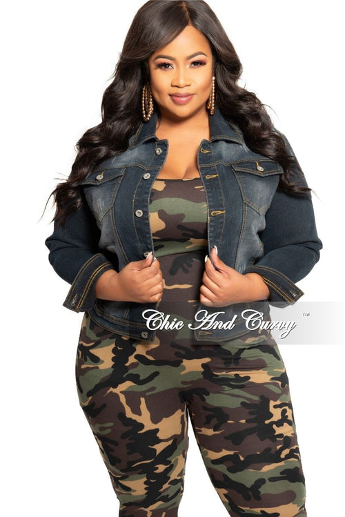 Final Sale Plus Size Denim Black Wash Jacket with Button Closure