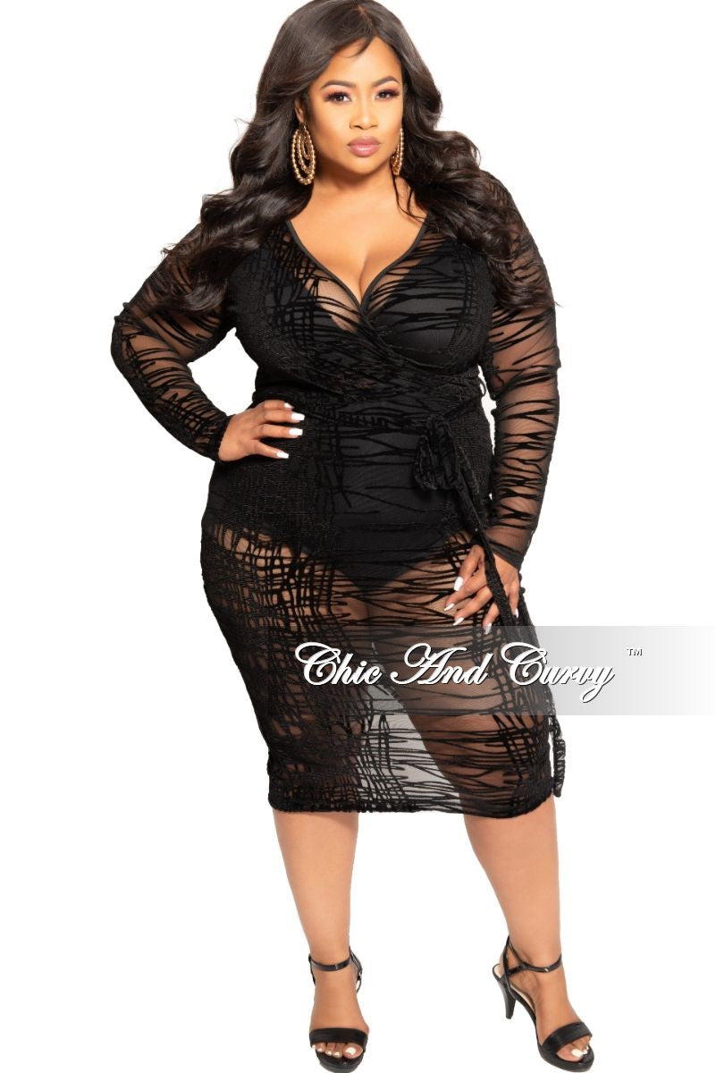 Final Sale Plus Size Mesh Faux Wrap BodyCon Dress with Attached Tie in Black
