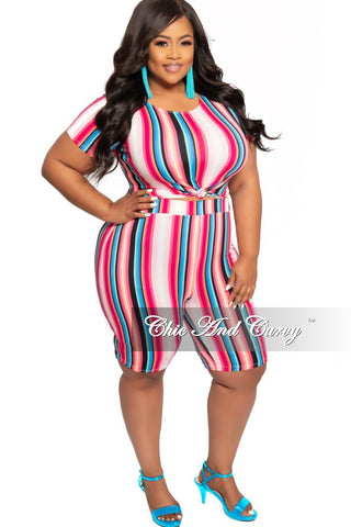 Final Sale Plus Size Short Sleeve Maxi in Techno Black and White Multi Stripe Print