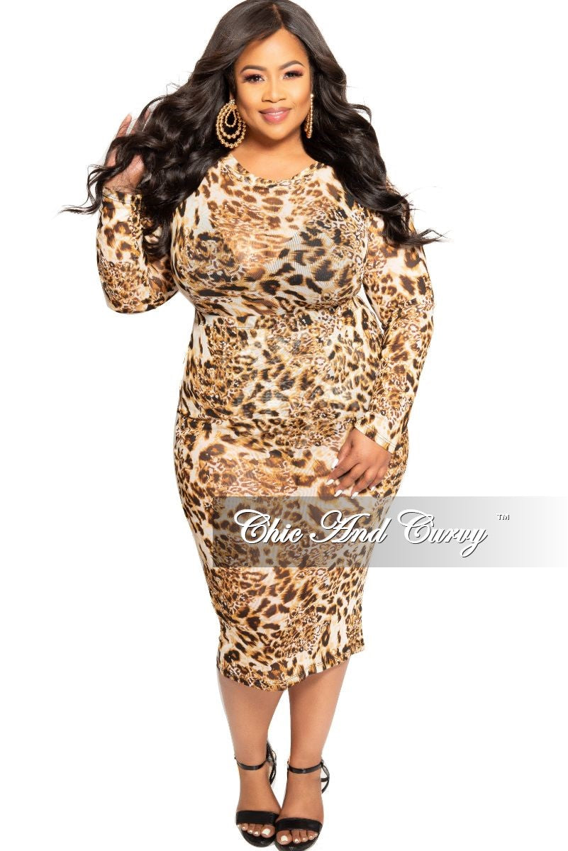 Final Sale Plus Size 2-Piece Mesh Bodysuit and Matching Pencil Skirt in Animal Print