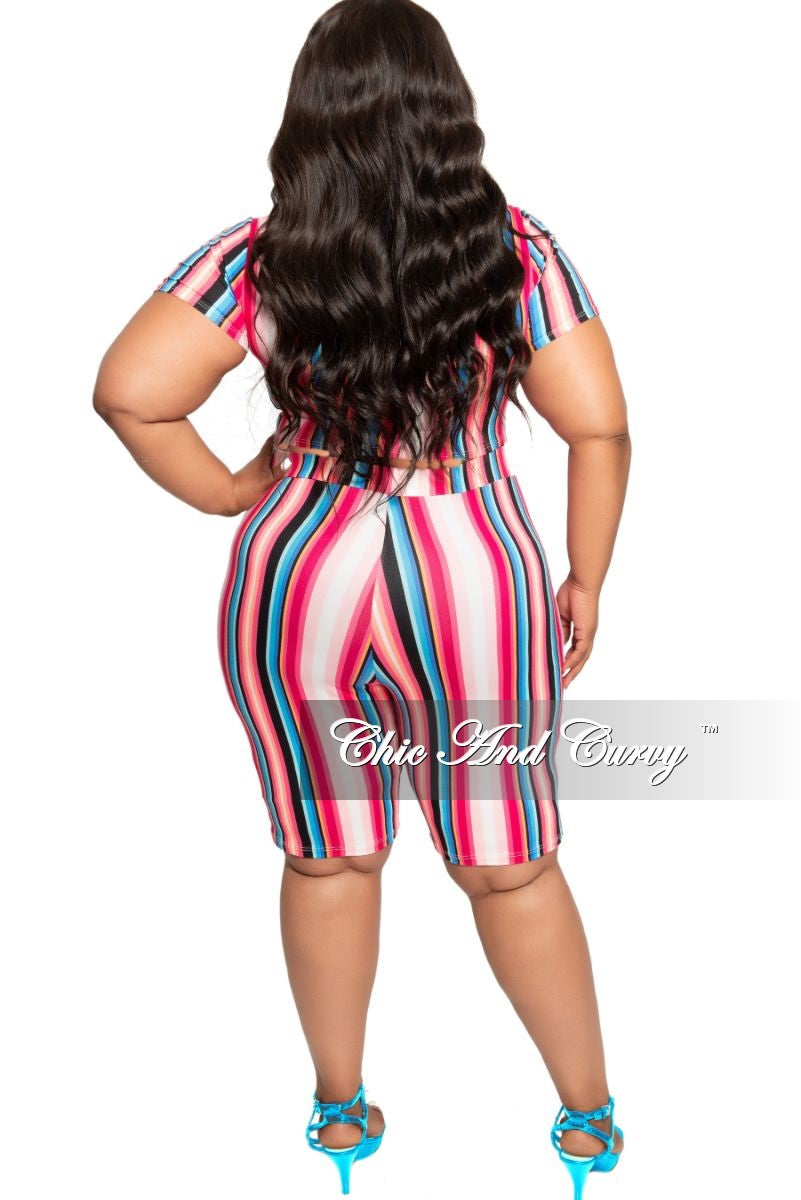 New Plus Size 2-Piece Knotted Crop Top and Shorts Set in Striped Multi Color Print