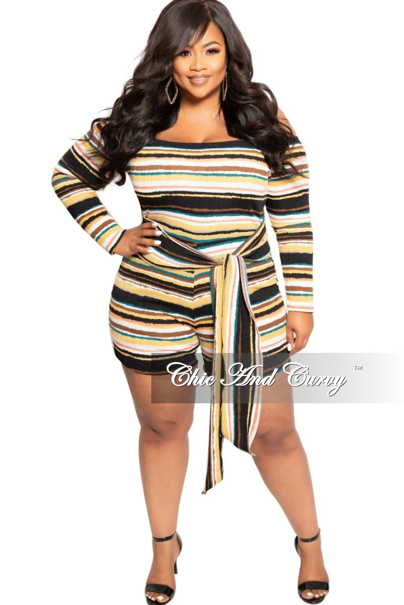 8ee0116a4497c2 New Plus Size Off the Shoulder Romper with Attached Tie in Mustard Bro –  Chic And Curvy