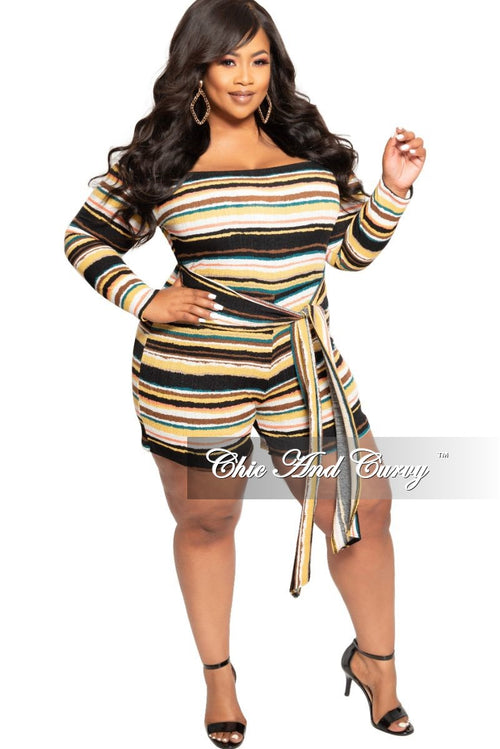 New Plus Size Off the Shoulder Romper with Attached Tie in Mustard Brown Black Coral Teal and White Horizontal Stripe Print