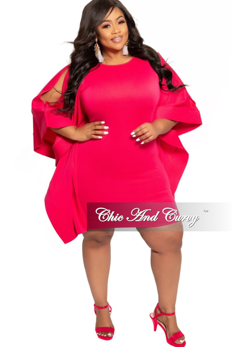 New Plus Size BodyCon Dress with Exaggerated Slit Sleeves in Fuchsia