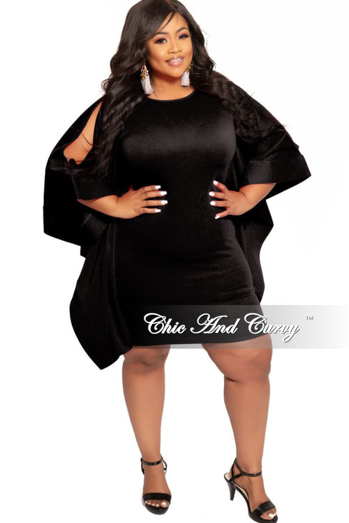 New Plus Size BodyCon Dress with Exaggerated Slit Sleeves in Black