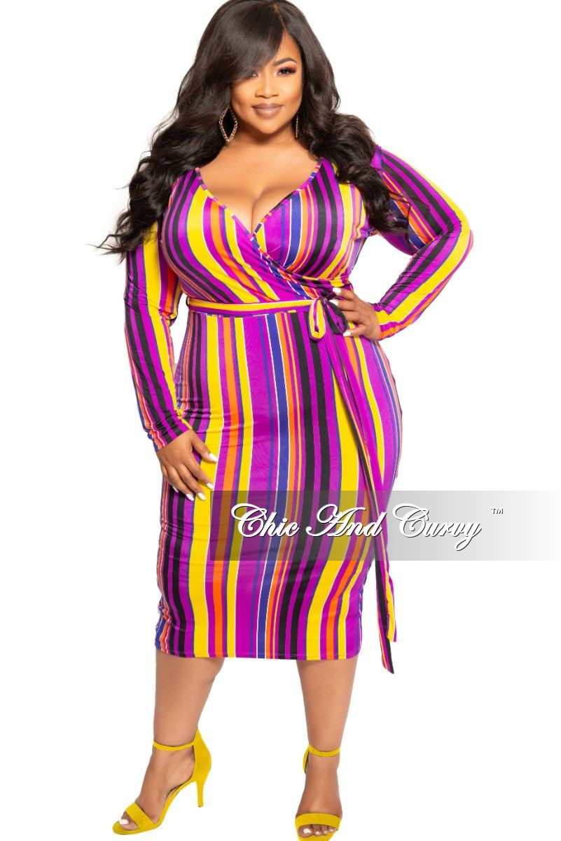 Final Sale Plus Size Faux Wrap BodyCon Dress with Attached Tie in Purple Black Orange and Yellow Stripe Print
