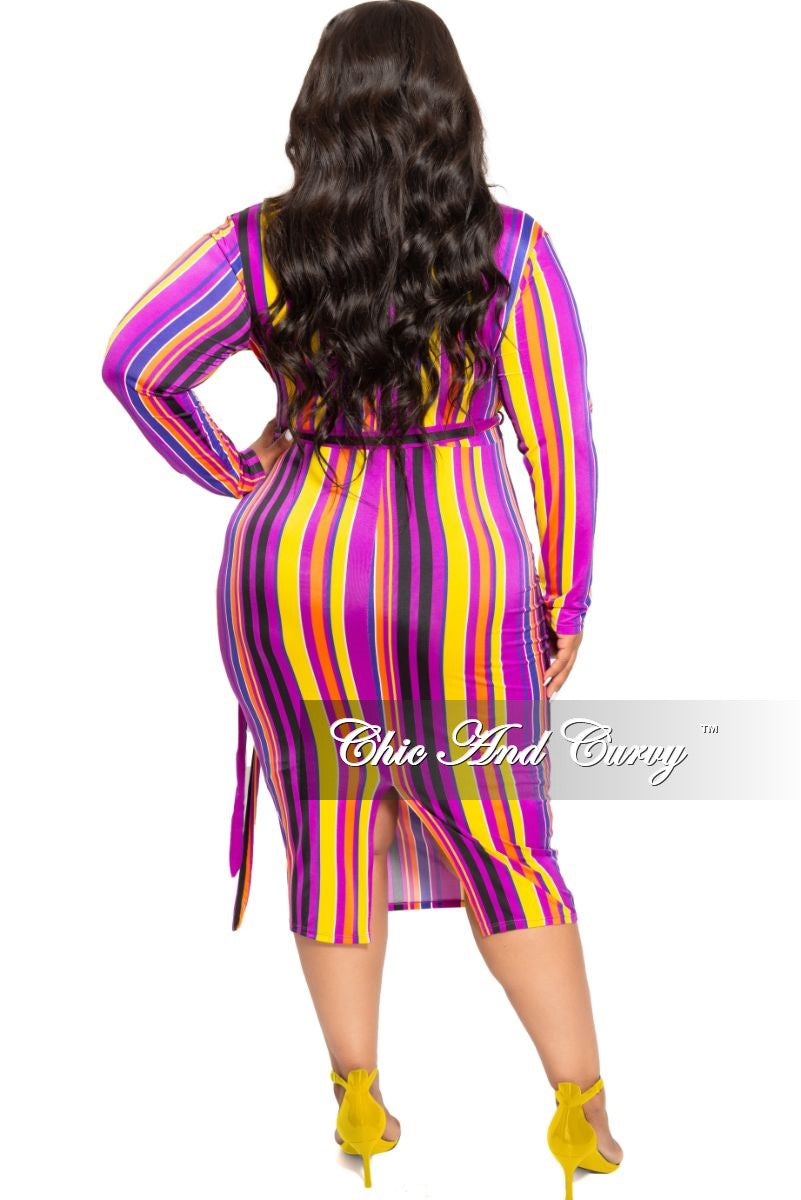 New Plus Size Faux Wrap BodyCon Dress with Attached Tie in Purple Black Orange and Yellow Stripe Print