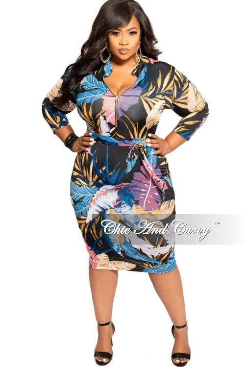New Plus Size Zip-Up Dress with Attached Tie in Black Multi Color Leaf Print