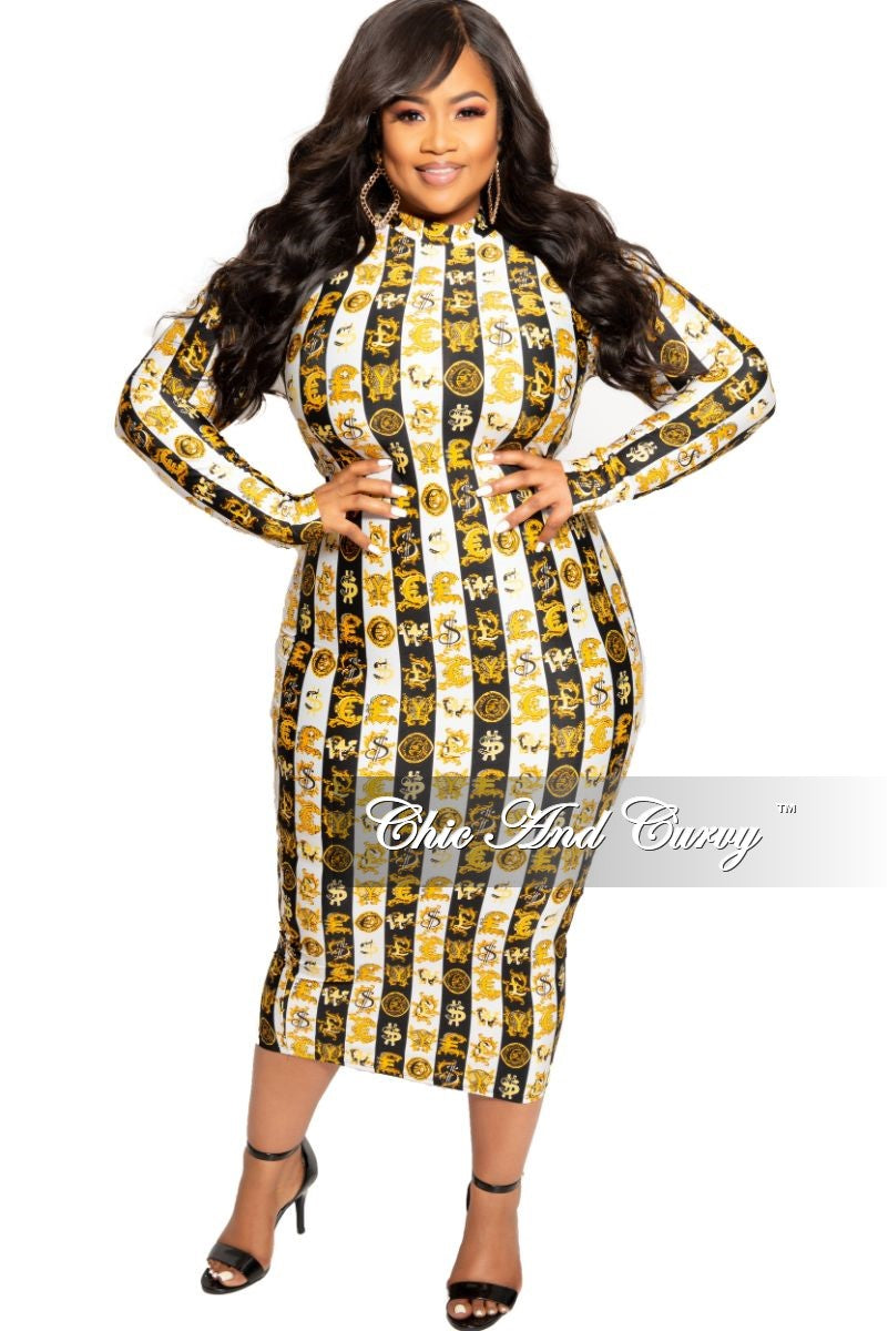 New Plus Size Long Sleeve BodyCon Dress with Back Zipper in Black White and  Gold Design Print