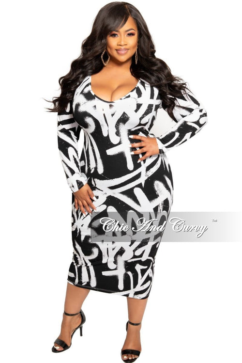 New Plus Size BodyCon Dress is Black and White Design Print