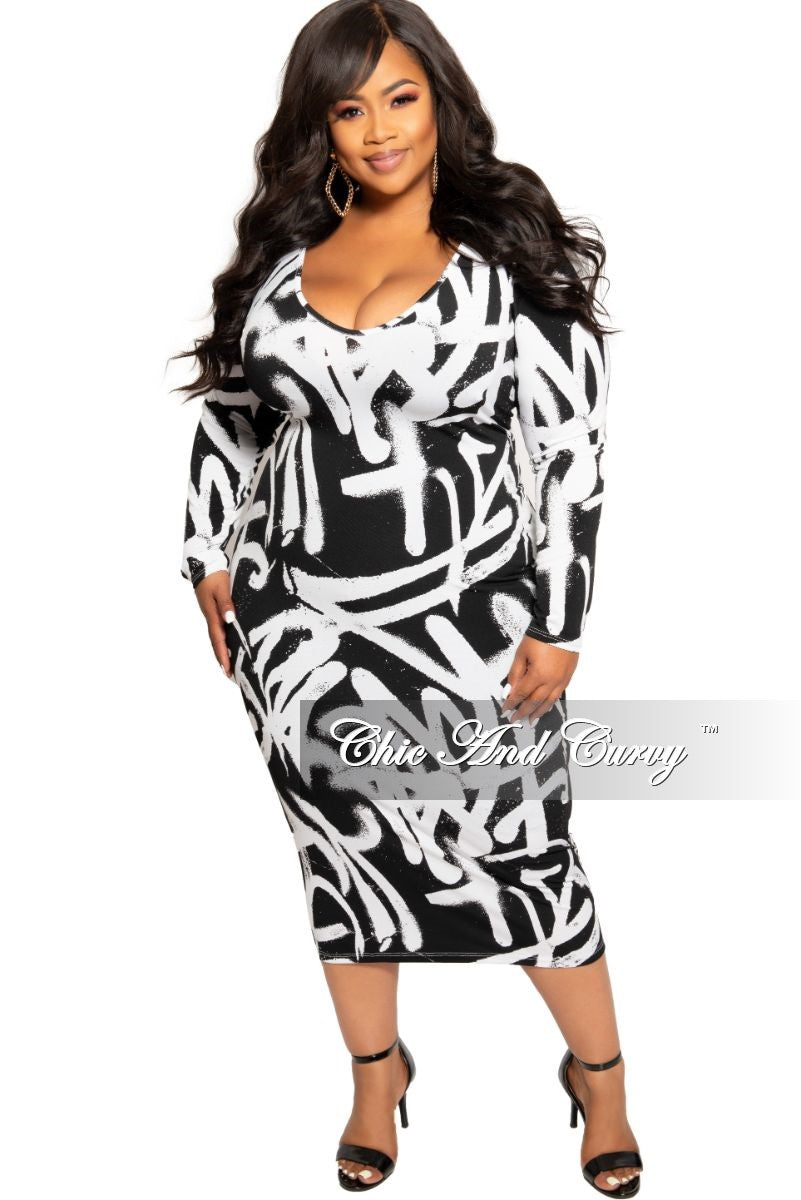 New Plus Size BodyCon Dress is Black and White Design Print – Chic ...