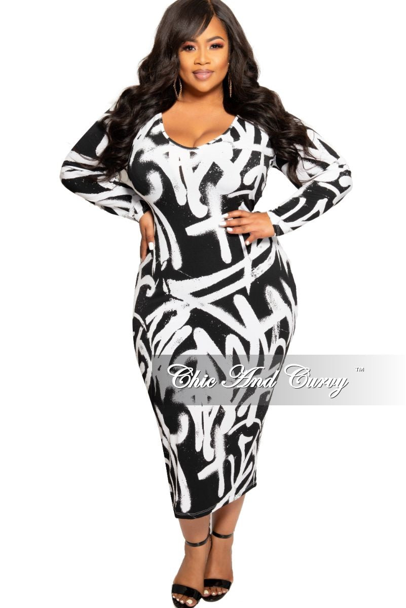 81d0ce505439 New Plus Size BodyCon Dress is Black and White Design Print – Chic And Curvy