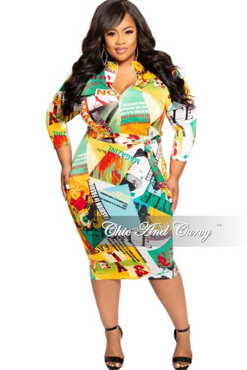 aef9193c6f New Plus Size Zip-Up Dress with Attached Tie in Multi Color Cartoon Print