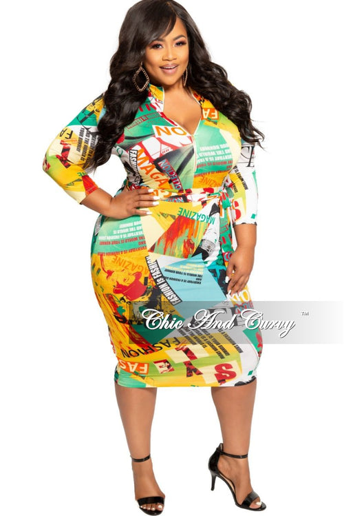 New Plus Size Zip-Up Dress with Attached Tie in Multi Color Cartoon Print