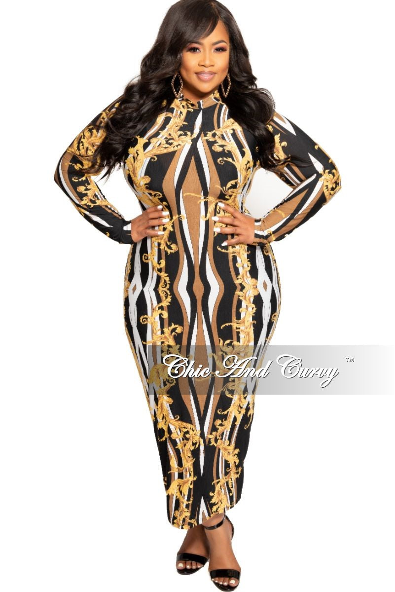 New Plus Size BodyCon Midi Dress in Black White Brown and Gold Design Print