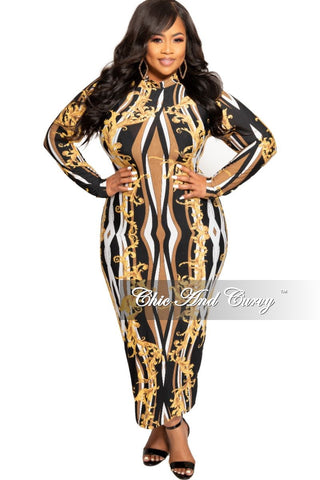 Final Sale Plus Size Chain Printed 2-Piece Sleeveless Collar Top and Pants Set in White and Gold