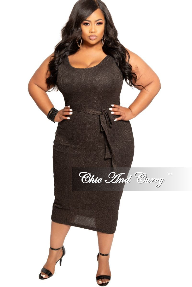 New Plus Size Sleeveless Ribbed BodyCon Dress with Attached Tie in Black