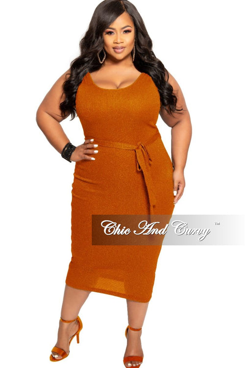 *Deal of the Day Final Sale Plus Size Sleeveless Ribbed BodyCon Dress with Attached Tie in Rust
