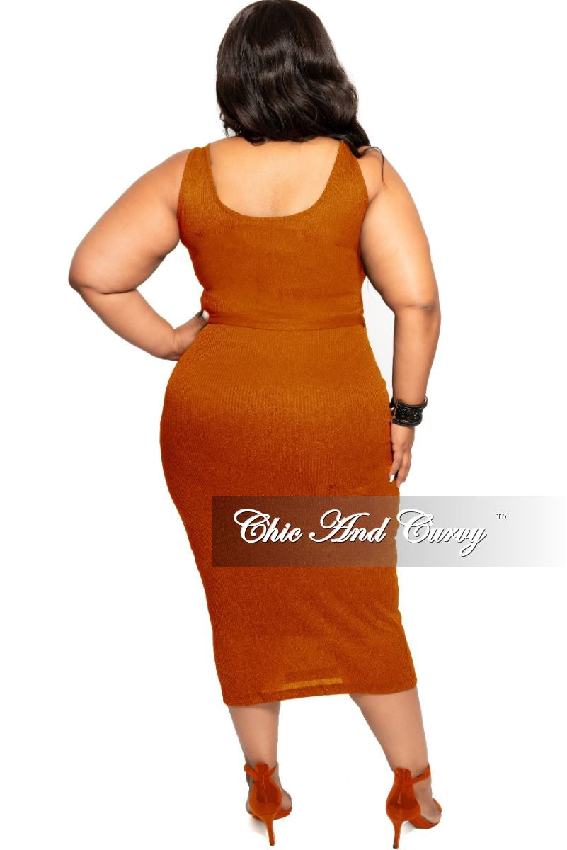 Final Sale Plus Size Sleeveless Ribbed BodyCon Dress with Attached Tie in Rust