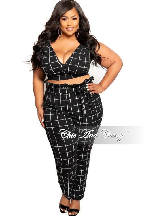83a061a84 New Plus Size 2-Piece Spaghetti Strap Crop Top and Pants Set with Attached  Tie