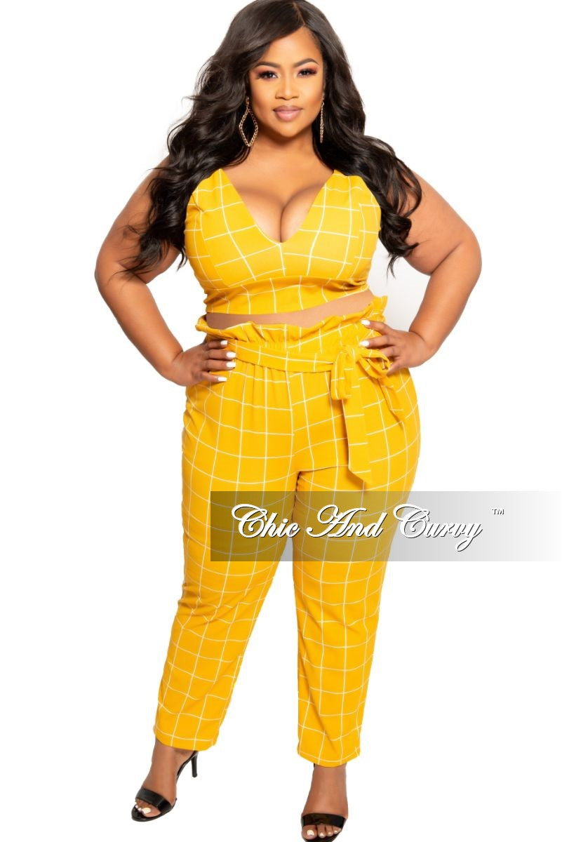 New Plus Size 2-Piece Spaghetti Strap Crop Top and Pants Set with Attached Tie in Mustard and White Grid Check Print