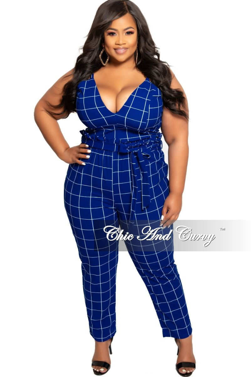 New Plus Size 2-Piece Spaghetti Strap Crop Top and Pants Set with Attached Tie in Royal Blue  and White Grid Check Print