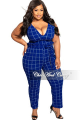 Final Sale Plus Size 2-Piece Spaghetti Strap Crop Top and Pants Set with Attached Tie in Royal Blue  and White Grid Check Print