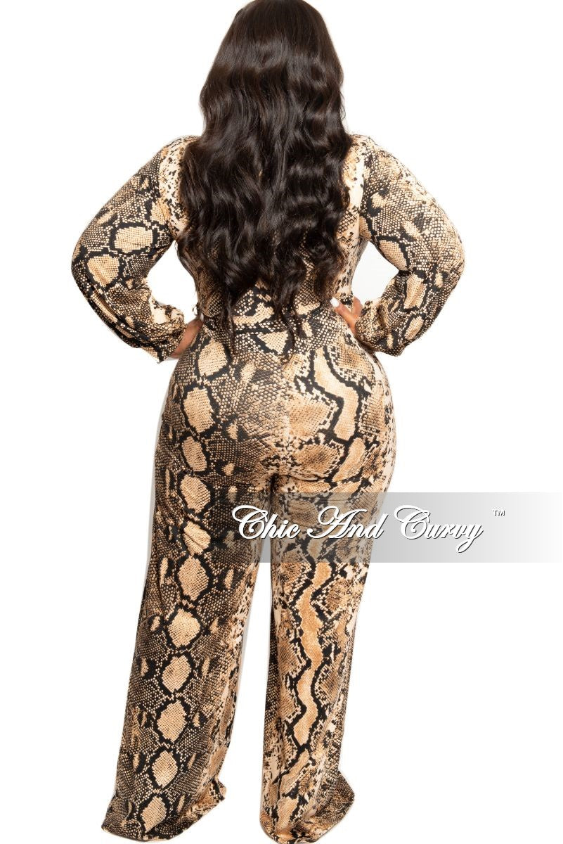New Plus Size Collared Faux Wrap Jumpsuit with Attached Tie in Tan and Black Snake Print