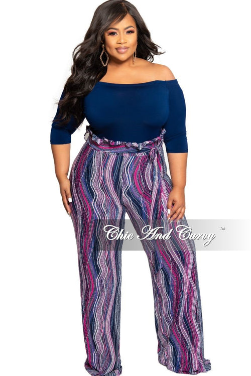 New Plus Size Off the Shoulder Jumpsuit with Attached Tie in Navy White and Magenta