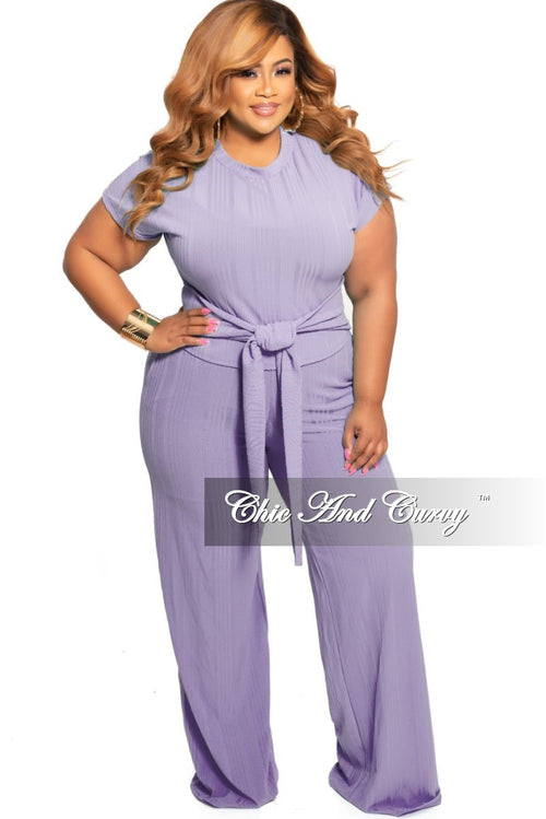 New Plus Size 2-Piece Ribbed Tie Top and Pants Set in Lavender