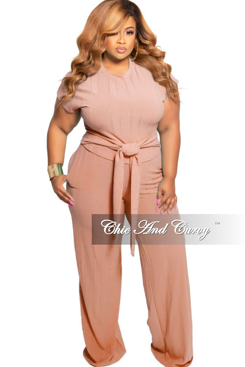 New Plus Size 2-Piece Ribbed Tie Top and Pants Set in Blush