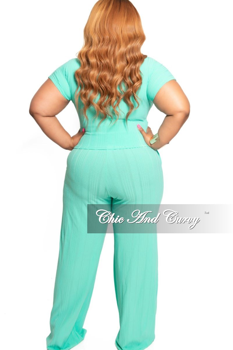 New Plus Size 2-Piece Ribbed Tie Top and Pants Set in Mint