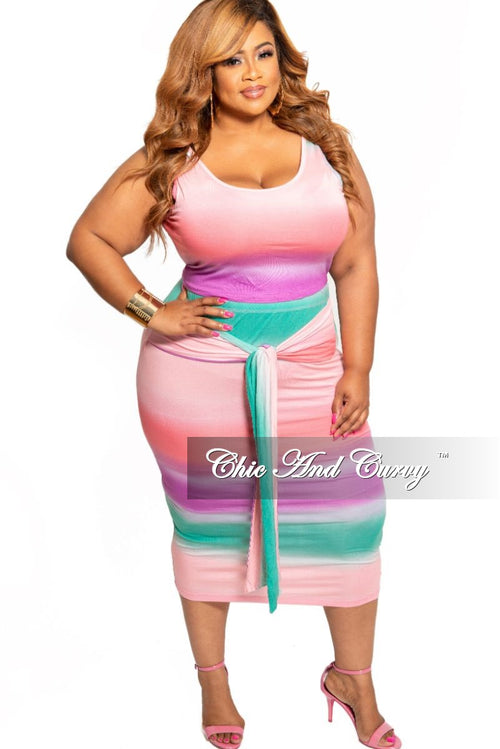 f413ef93a New Plus Size 2-Piece Sleeveless Crop Top and Pencil Skirt Set with  Attached Tie