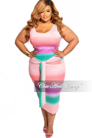 New Plus Size 2-Piece Ribbed Crop Top and Palazzo Pants Set in Navy Teal Orange and Lime Green Stripe Print