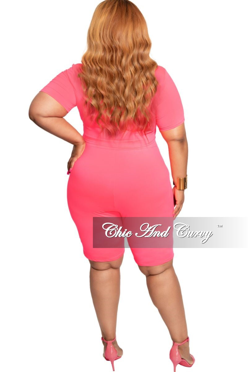 New Plus Size 2-Piece Knotted Crop Top and Short Set in Neon Pink