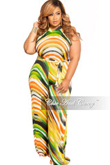 Final Sale Plus Size Halter Jumpsuit in Green Orange Yellow Black and White Design Print 2x