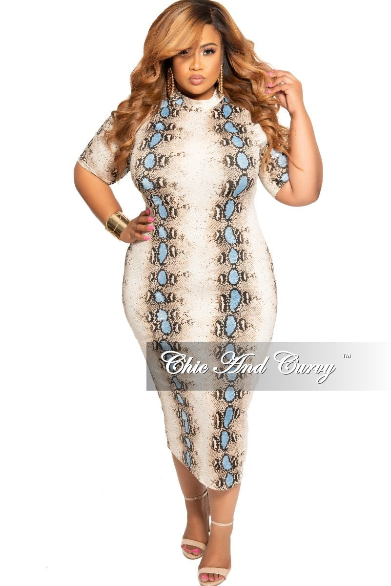 New Plus Size Mock Neck BodyCon Dress in Brown and Light Blue Snake Print