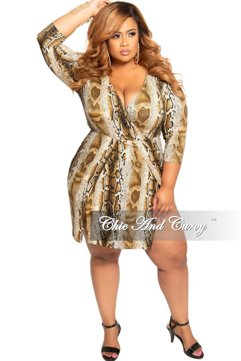 New Plus Size Faux Wrap Sequin BodyCon Dress with Double Slits in Brown Snake Print