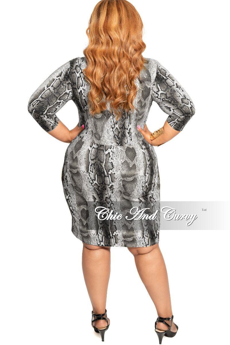 Final Sale Plus Size Faux Wrap Sequin BodyCon Dress with Double Slits in Grey Snake Print