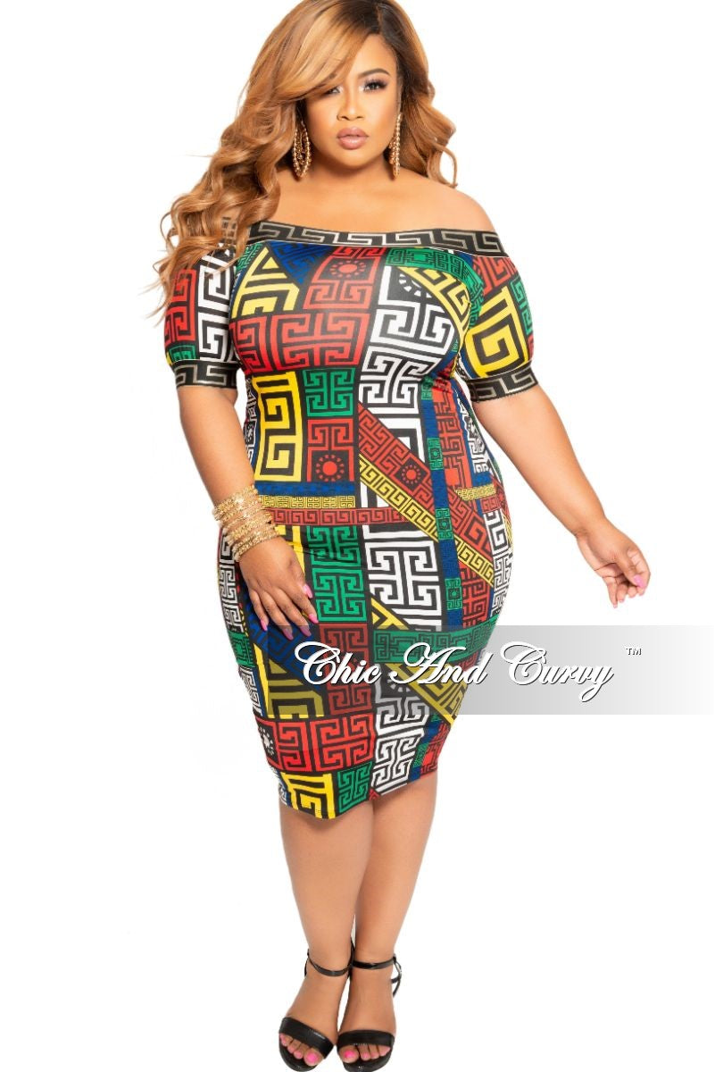 New Plus Size Off the Shoulder BodyCon Dress in Multi Color Maze Print