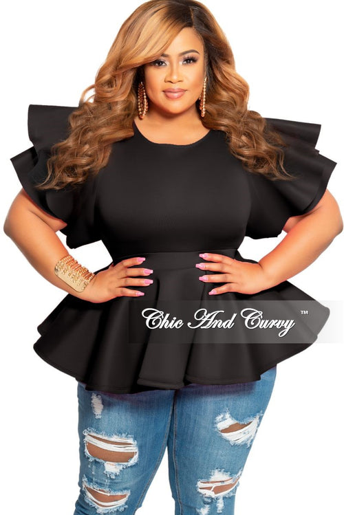 New Plus Size Peplum Top with Ruffle Sleeves in Black