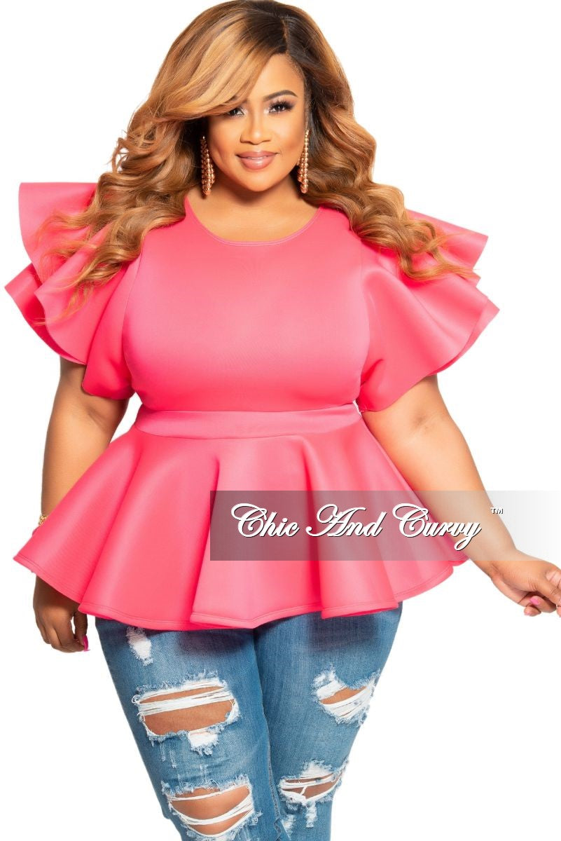 Final Sale Plus Size Peplum Top with Ruffle Sleeves in Fuchsia