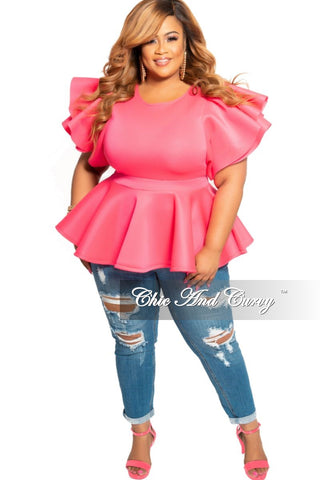 Final Sale Plus Size High Waist Patent Leather Pants with Front Gold Button in Hot Pink