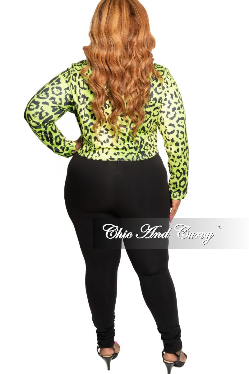 New Plus Size Collared Zip Jacket in Neon Green and Black Animal Print