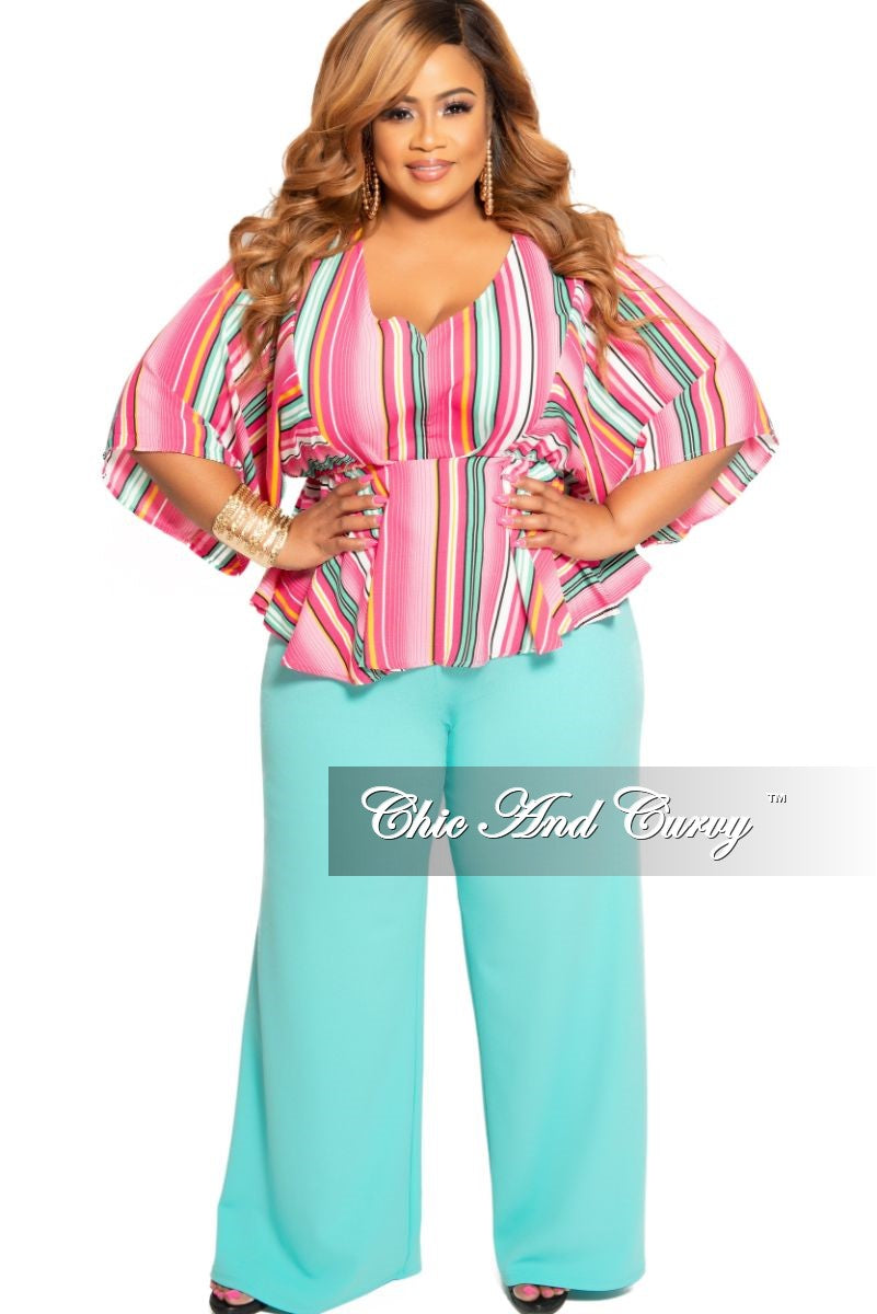 New Plus Size Flare Top in Pink Magenta Mint Yellow and White Stripe Print