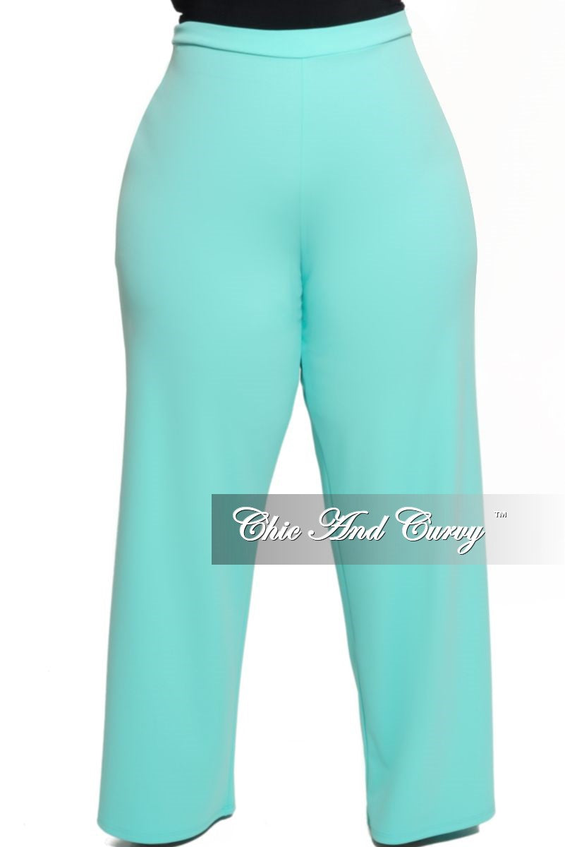Final Sale Plus Size High-Waist Wide Leg Pants in Mint