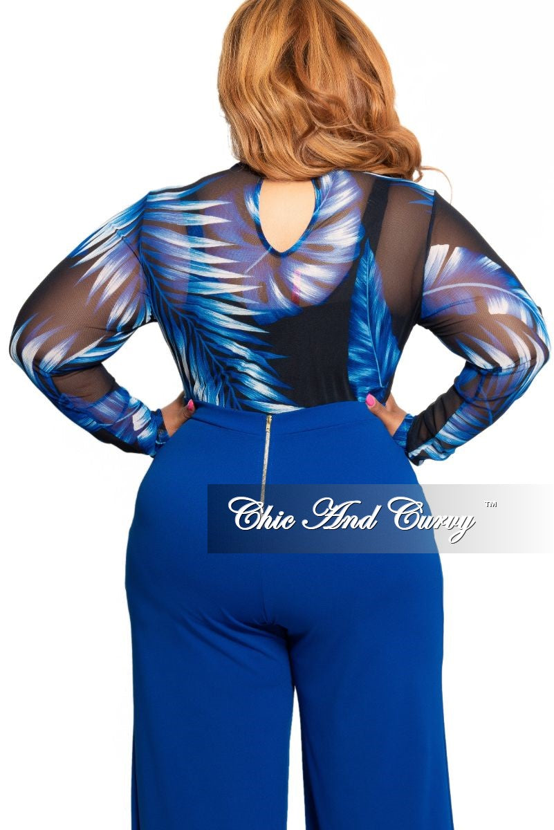 Final Sale Plus Size Long Sleeve Bodysuit with in Black and Royal Blue Leaf Print