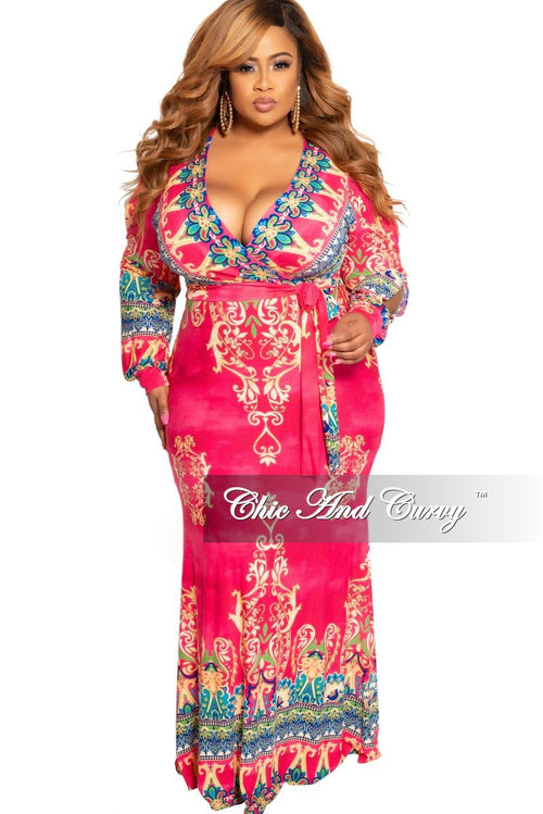 New Plus Size Faux Wrap Maxi with Attached Tie and Slit Sleeves in Fuchsia Tan Royal Blue and Green Design Print