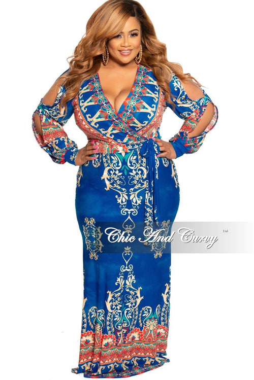 New Plus Size Faux Wrap Maxi with Attached Tie and Slit Sleeves in Royal Blue Tan Red and Teal Design Print